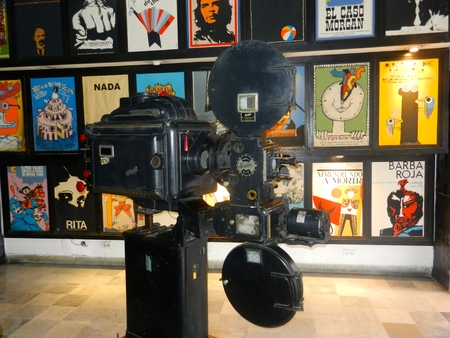 Ashcraft film projector on display in museum in Cuba