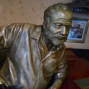 Bronze sculpture of Ernest Hemingway in El Floridita