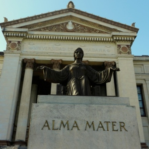 Close up of Alma Mater statue at the University of Havana