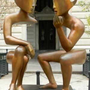 The Conversation sculpture by Etienne in Plaza San Francisco de Asisi in Havana