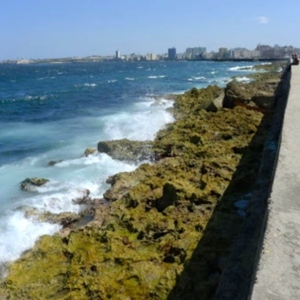 Waves hitting the rocks along the sea wall of the Malecon in Havana, Cuba
