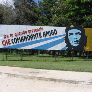 "View of promotional billboard honoring Ché Guevara in Cuba: ""Che, Commander and Friend"""