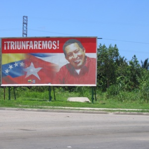 "View of promotional billboard for Hugo Chávez in Cuba: ""We will triumph!"""