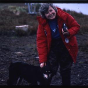 Leslie Morginson-Eitzen with dog at Cape Horn.